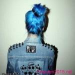 blaue haaren gothic bun frisuren haarfarbe
