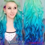 blaue ombre gothic frisuren haarfarbe