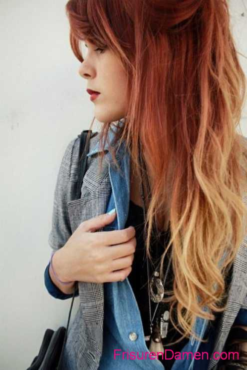 ombre haarfarben rot blond